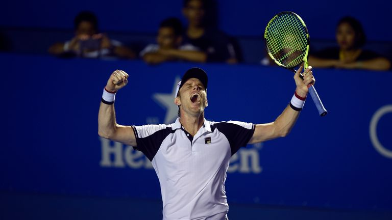 Querrey celebrates after his 6-3 7-6 (7/3) win over the Spaniard