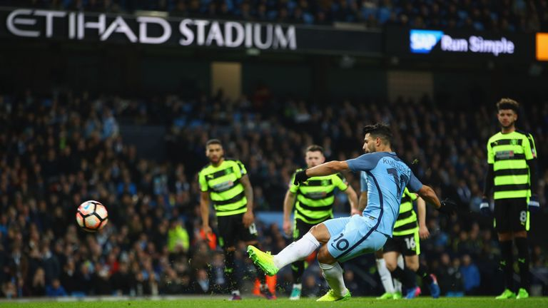 Aguero makes it 2-1 from the penalty spot