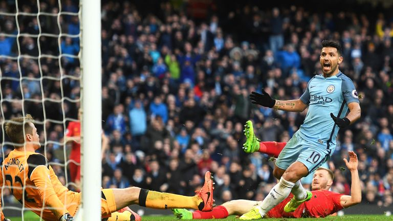 Sergio Aguero scores the second-half equaliser for Manchester City having been called onside by Stuart Burt