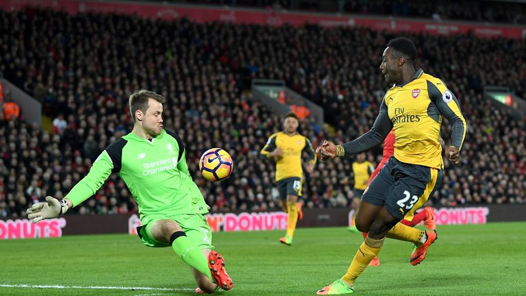 Danny Welbeck pulled one back for Arsenal after half-time