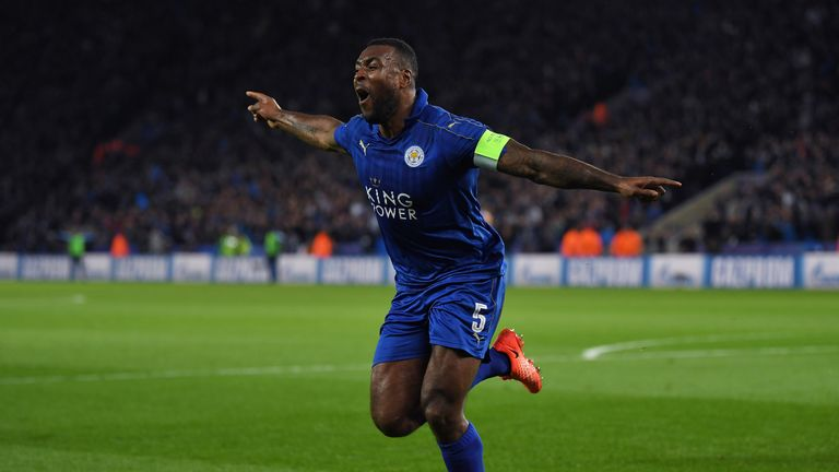Wes Morgan wheels away in celebration after becoming the first Jamaican player to score in the Champions League