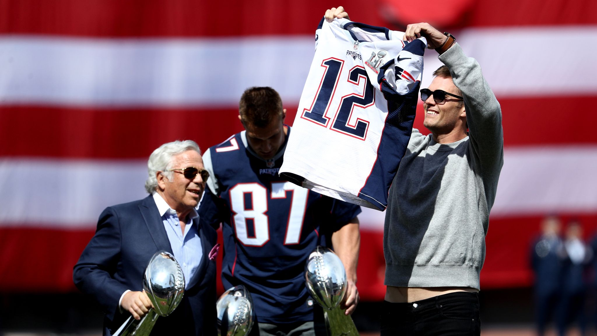 Rob Gronkowski 'steals' Tom Brady's jersey at Red Sox opening day ...