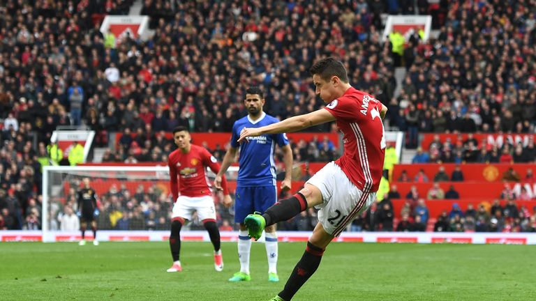 Ander Herrera of Manchester United scores his side's second goal