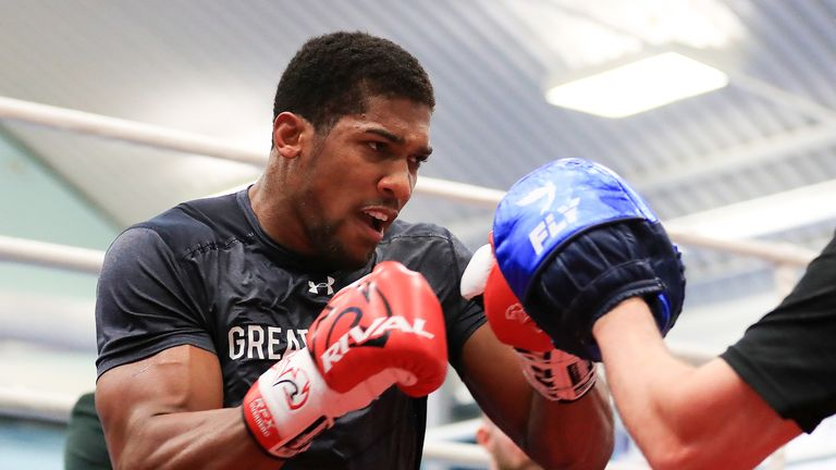 Anthony Joshua training in Sheffield ahead of his fight with Wladimir Klitschko