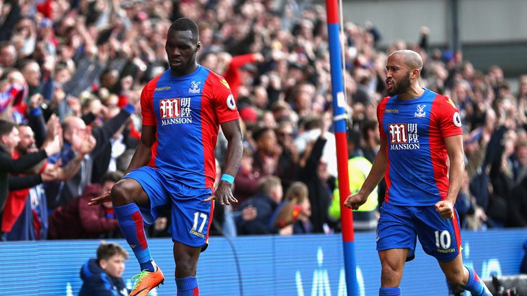 Christian Benteke celebrates his equaliser against Leicester