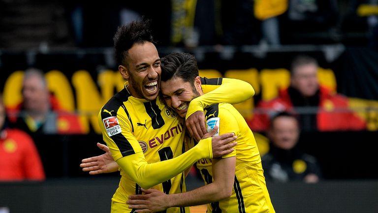 Pierre-Emerick Aubameyang (L) celebrates scoring for Dortmund