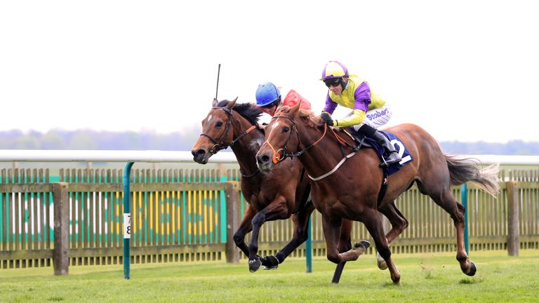 Brando (nearside) wins the Connaught Access Flooring Abernant Stakes at Newmarket