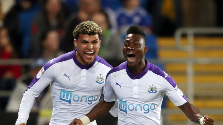 Christian Atsu (right) is in talks with Newcastle over a permanent move to St James' Park