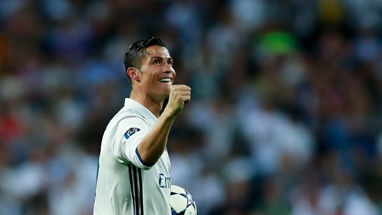Ronaldo celebrates his hat-trick against Bayern Munich on Tuesday