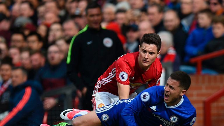 Ander Herrera man-marked Eden Hazard at Old Trafford in April