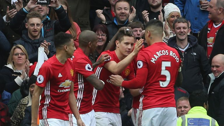 Ander Herrera (centre) seals victory for United over Chelsea in April 2017