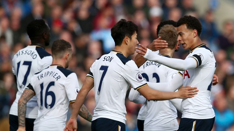 Tottenham Hotspur's players celebrate their key win at Burnley on Saturday