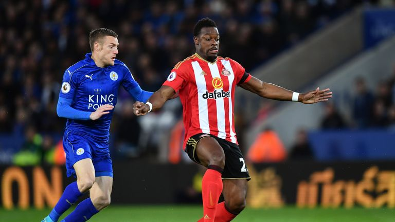 Vardy and Lamine Kone in action on Tuesday night