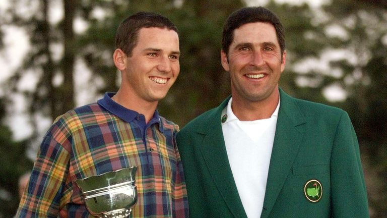 Sergio Garcia was the leading amateur when Olazabal won his second Green Jacket