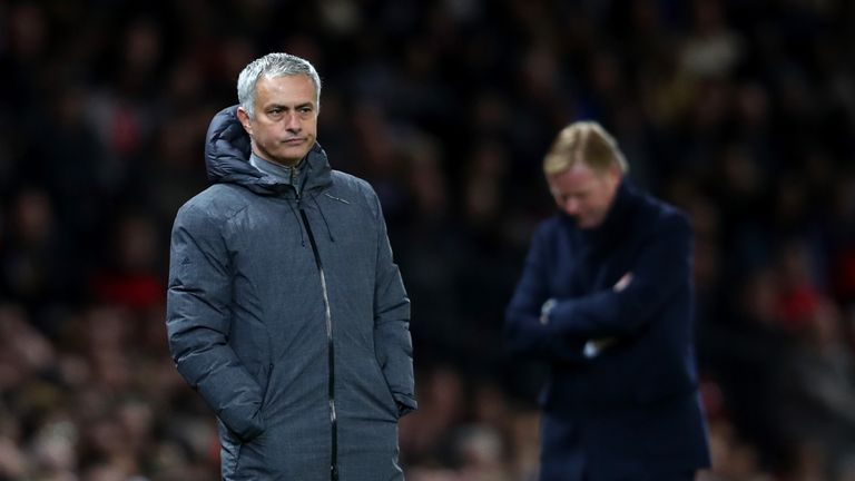 Jose Mourinho looks on as his Manchester United side struggle to break Everton down