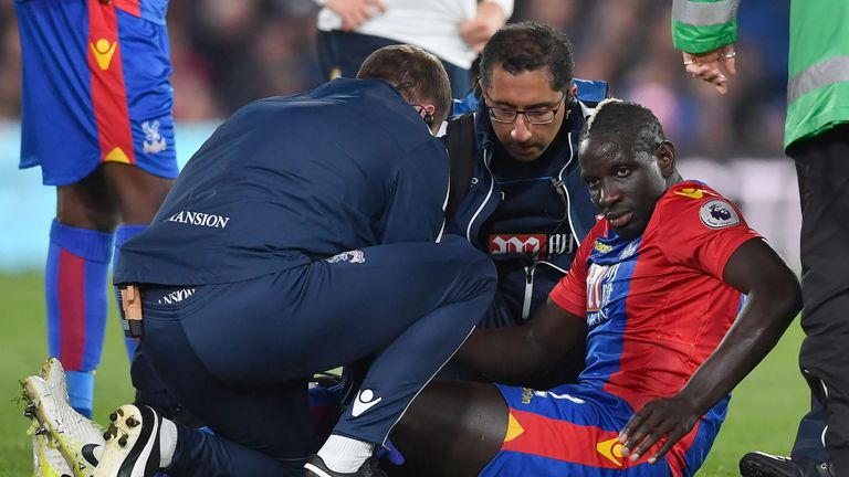 Mamadou Sakho had to be stretchered off during the home match with Spurs