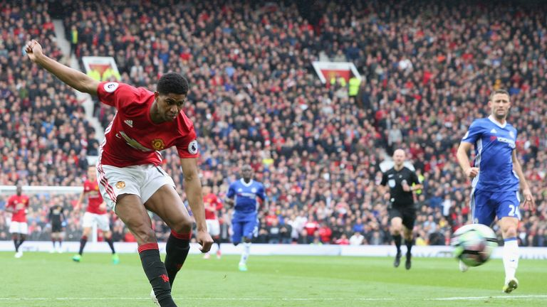 Marcus Rashford scores the opening goal in United's 2-0 win in April