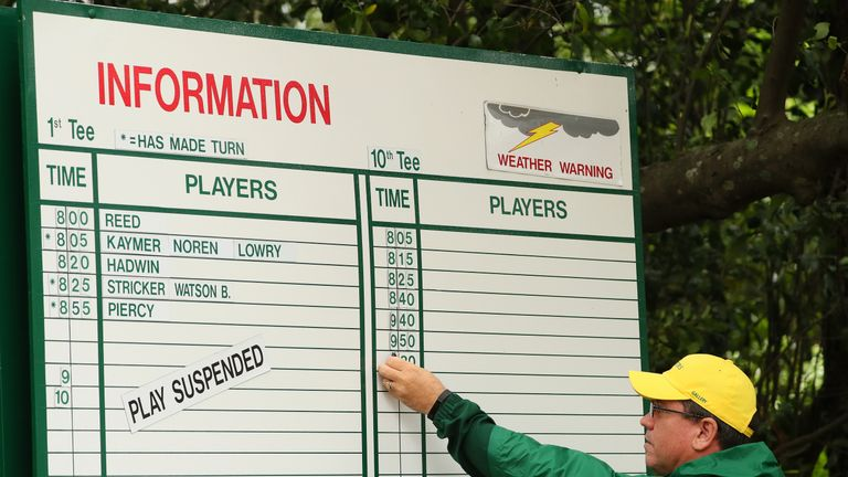 Storms saw practice suspended on Monday and has put Wednesday's par-3 in doubt