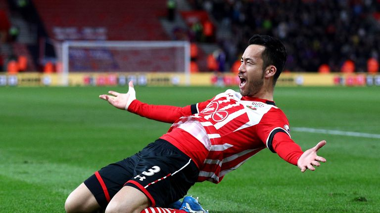 Maya Yoshida celebrates after his goal gives Southampton 2-1 lead at St Mary's against Crystal Palace