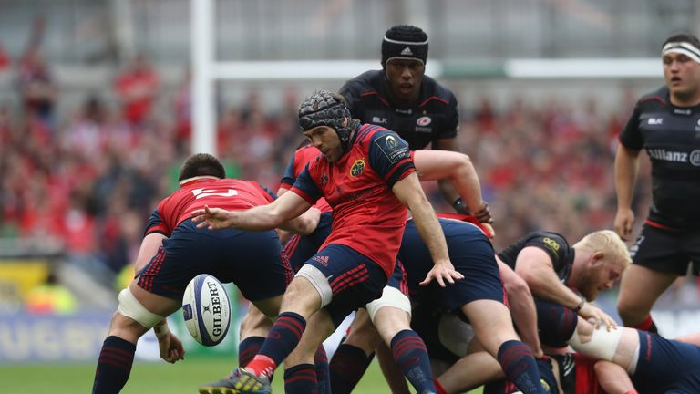 Munster's Duncan Williams kicks upfield against Saracens