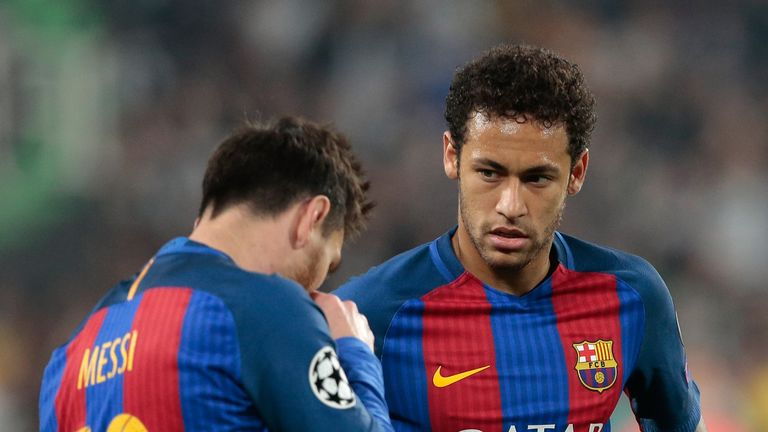 Lionel Messi (left) and Neymar react after Barcelona's loss to Juventus
