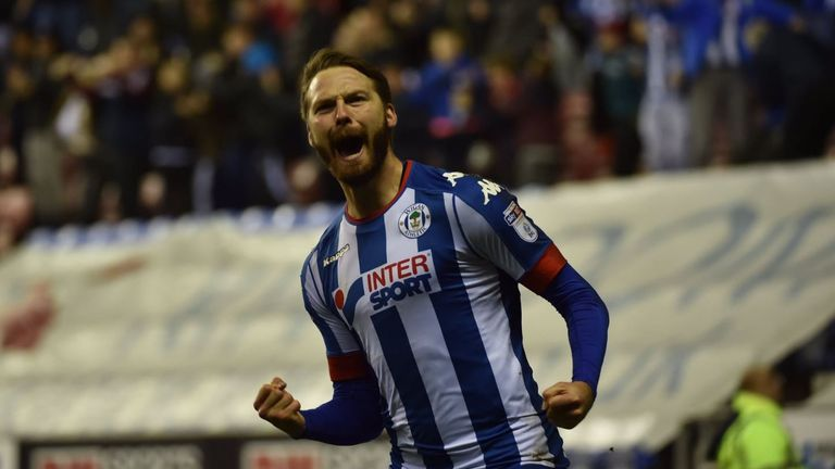 Nick Powell celebrates his third goal in Wigan's 3-2 Sky Bet Championship victory over Barnsley