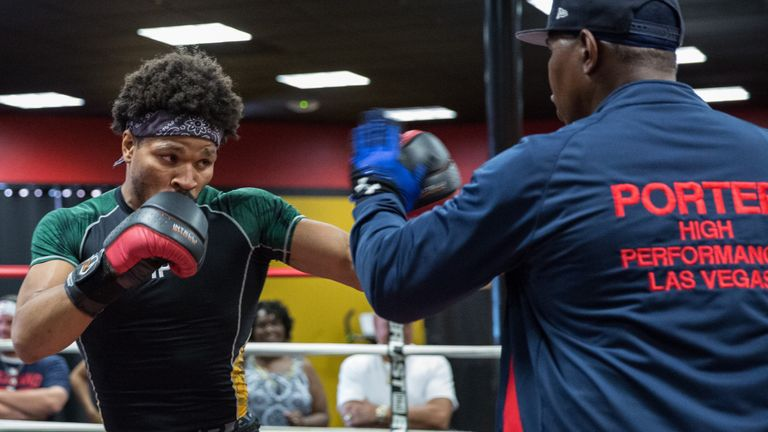 Shawn Porter training with his father Kenny Porter (PBC)