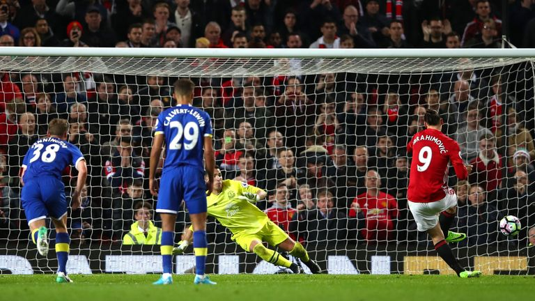 Zlatan Ibrahimovic scores from the penalty spot for Manchester United