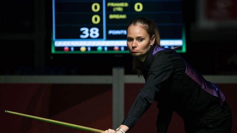 Reanne Evans considers her options during her match against Lee Walker
