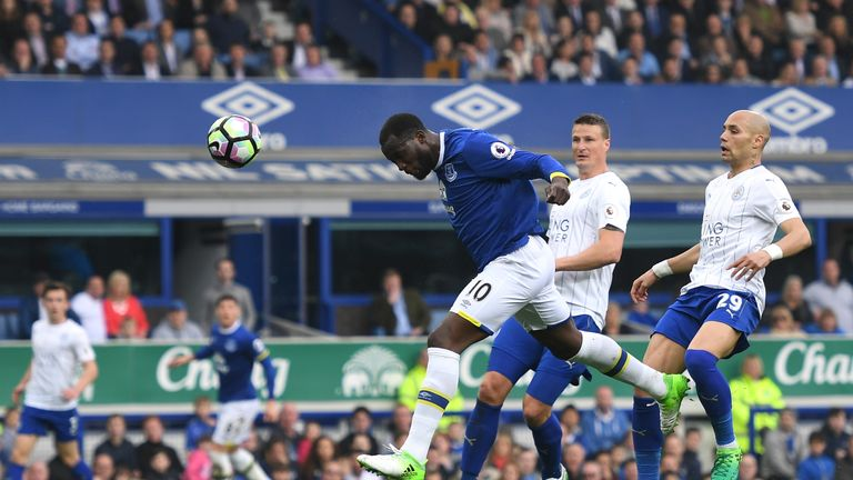 Everton's Romelu Lukaku scores his first goal against Leicester