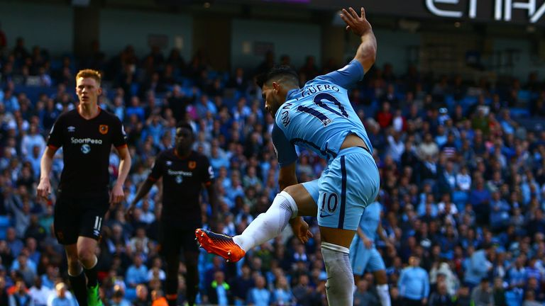 Sergio Aguero scored his 10th goal in as many appearances