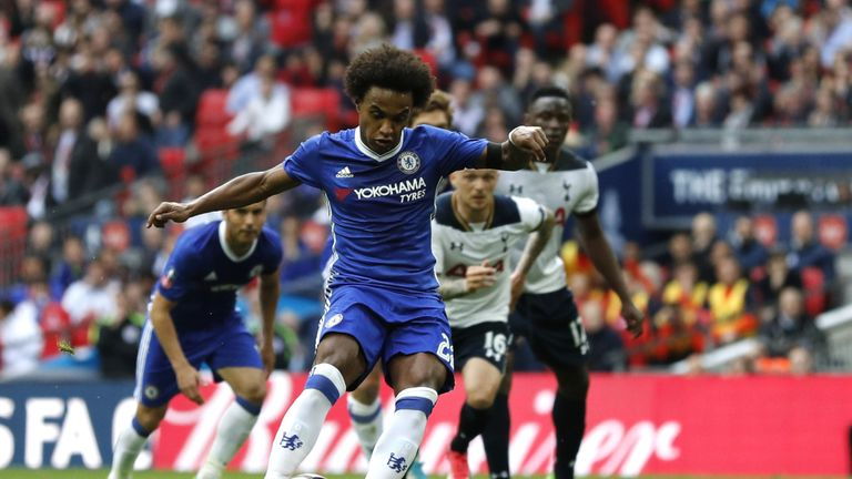 Willian scored two goals in the first half, one from a free-kick and another from the penalty spot