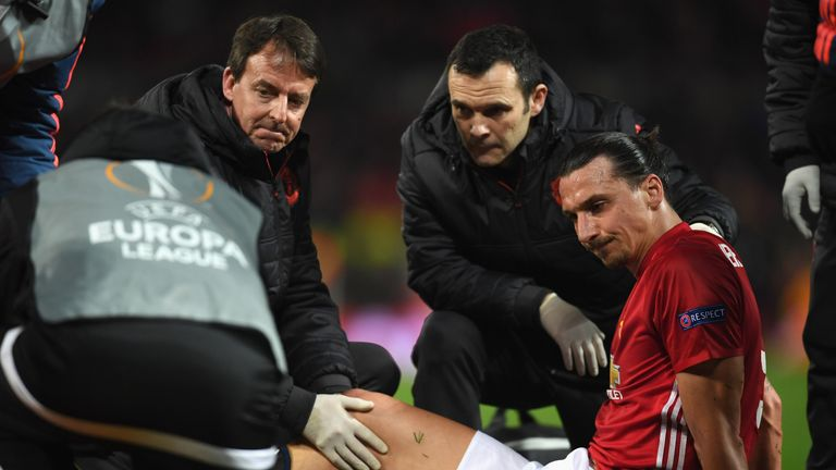 Ibrahimovic suffered a serious injury in United's game against Anderlecht