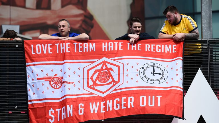 Some Arsenal fans have protested against Wenger remaining at the Emirates