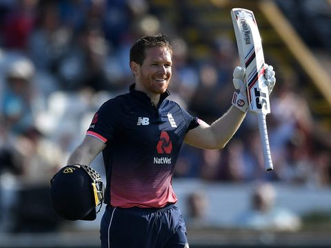 England captain Eoin Morgan celebrates his hundred against South Africa