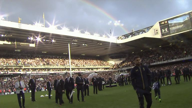 A rainbow was visible as Tottenham said farewell to their old stadium
