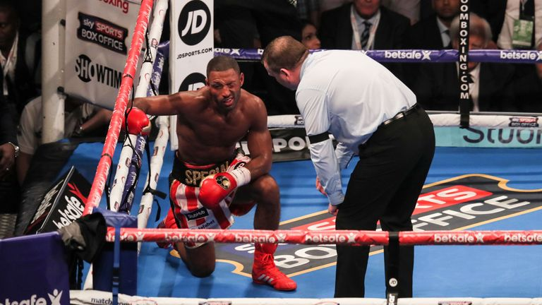 Kell Brook took a knee after suffered at the hands of Errol Spence Jr