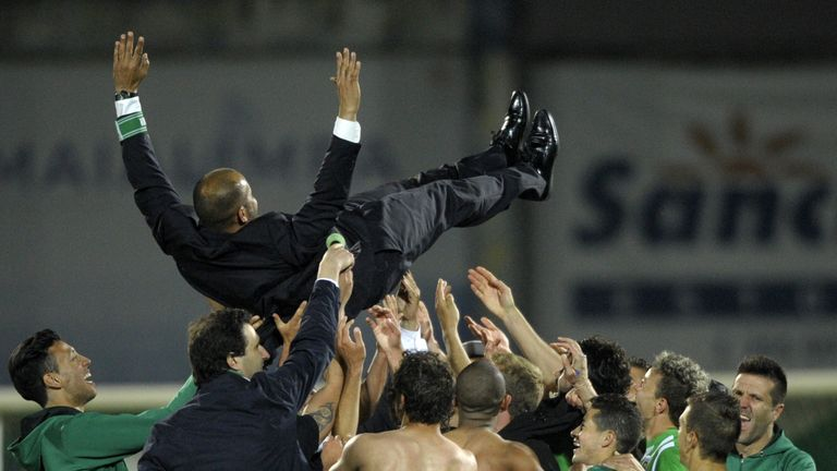Nuno is tossed in the air after Rio Ave's cup win over Braga in April 2014