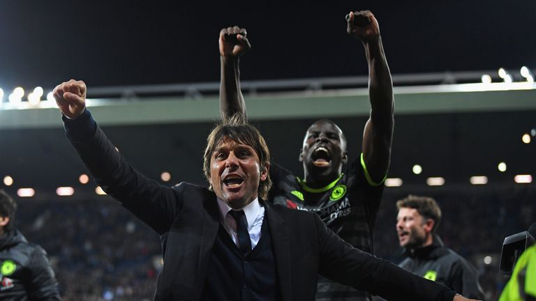 Conte celebrates Chelsea's title win at the Hawthorns