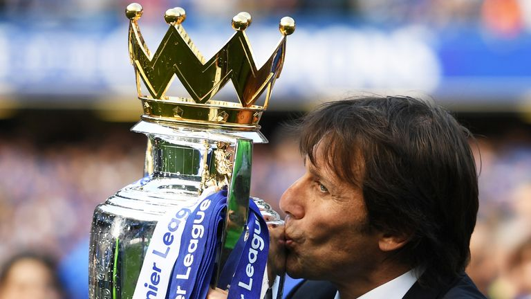 Antonio Conte celebrated winning the Premier League in his first year in England