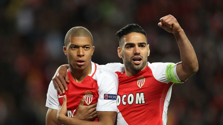 Mbappe celebrates with Monaco team-mate Radamel Falcao