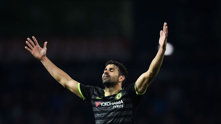 Diego Costa celebrates after the final whistle as Chelsea were crowned champions at West Brom