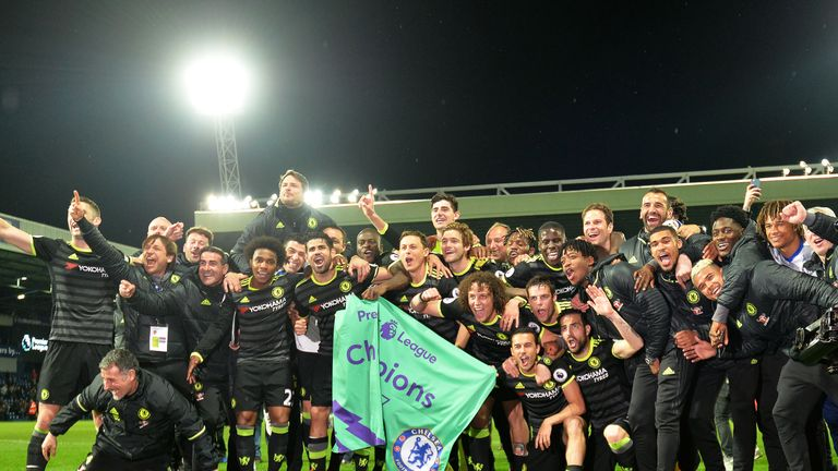 Chelsea players celebrate winning the Premier League title