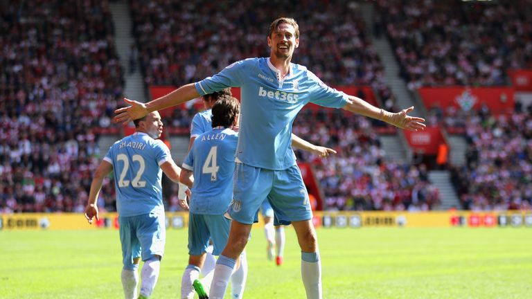 Peter Crouch is the only player to reach double figures for Stoke this season after his goal against Southampton