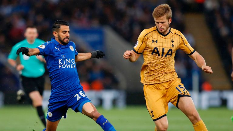 Riyad Mahrez vies with Tottenham's Eric Dier