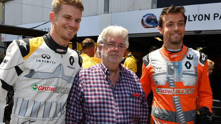 Nico Hulkenberg and Jolyon Palmer with Star Wars director George Lucas