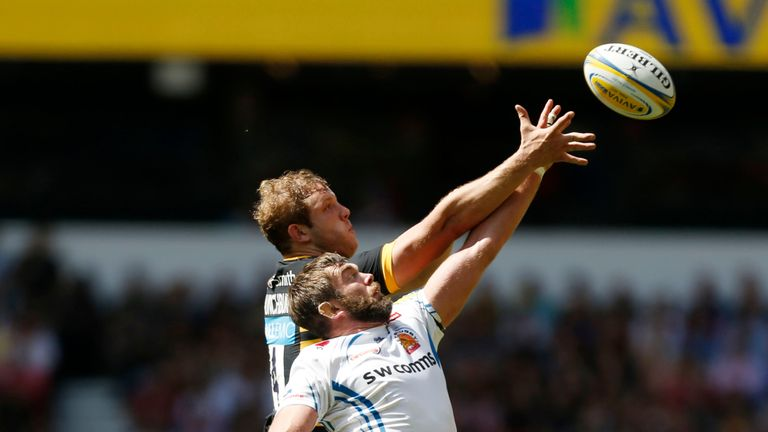 Exeter Chiefs' Geoff Parling and Wasps' Joe Launchbury contest a lineout