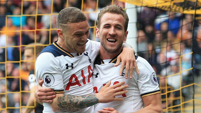 Kane celebrates with Kieran Trippier