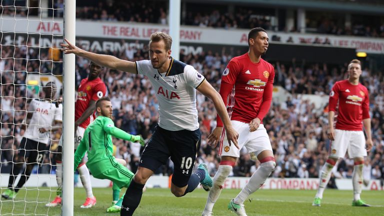 Harry Kane celebrates scoring the last goal at White Hart Lane for Tottenham against Man Utd