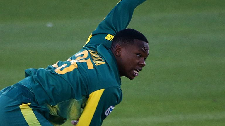 Kagiso Rabada in action for South Africa against Sussex at Hove last week